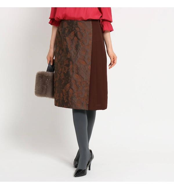 【スーナウーナ/SunaUna】 【洗える】ジャカードボタニカルスカート