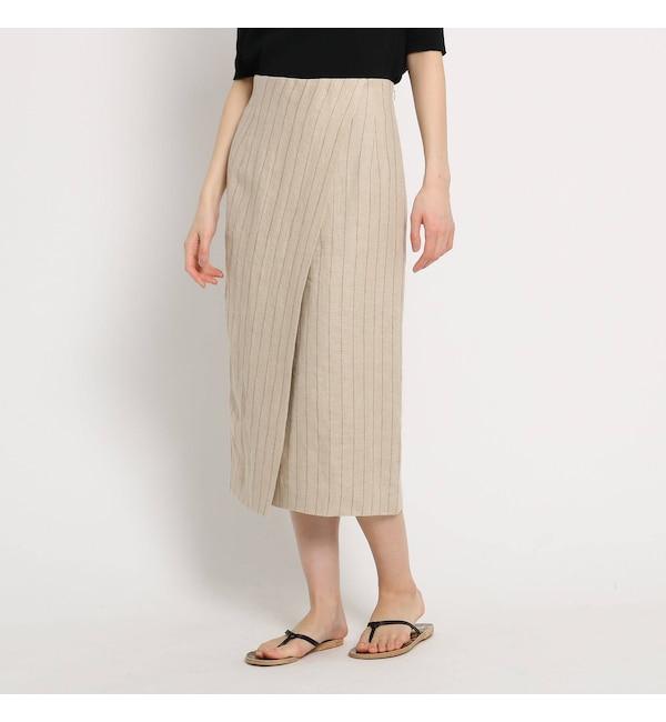 【ドレステリア/DRESSTERIOR 】 リネンストライプラップタイトスカート