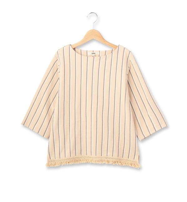 【オゾック/OZOC】 カノコストライプ裾フリンジプルオーバー [3000円(税込)以上で送料無料]