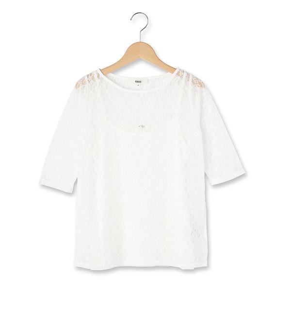 【オゾック/OZOC】 小花総レースプルオーバー [3000円(税込)以上で送料無料]