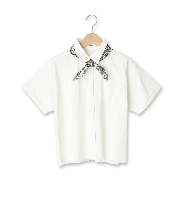【オゾック/OZOC】 スカーフ付き半袖デニムシャツ [送料無料]