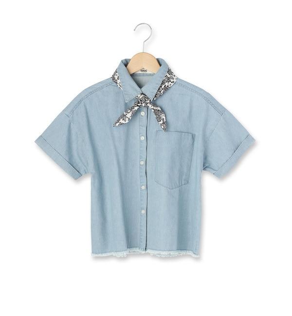 【オゾック/OZOC】 スカーフ付き半袖デニムシャツ [3000円(税込)以上で送料無料]