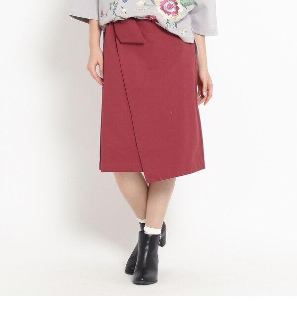 ラップ風リボンスカート【オゾック/OZOC レディス スカート ワインレッド(063) ルミネ LUMINE】