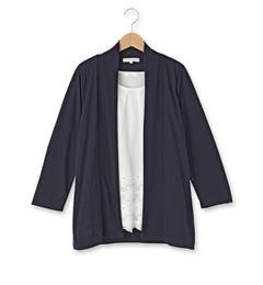 【グローブ/grove】 裾レースブラウス+七分袖トッパーカーディガン [3000円(税込)以上で送料無料]