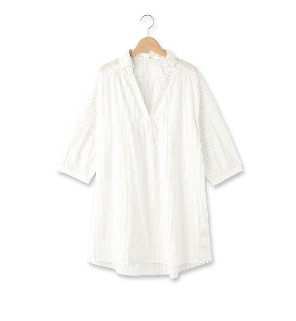 【グローブ/grove】 ローンスキッパーシャツ七分袖ワンピース [3000円(税込)以上で送料無料]