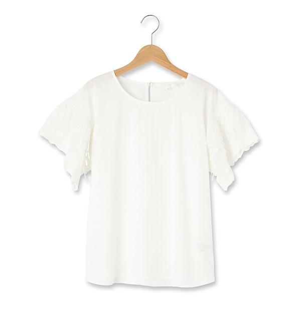 【グローブ/grove】 袖チュールモチーフレースシャツ [3000円(税込)以上で送料無料]