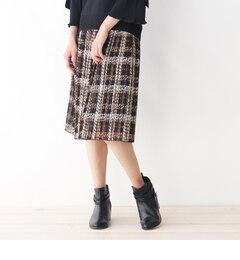 ツイードプリントプリーツスカート【スープ/SOUP レディス スカート ブラック(319) ルミネ LUMINE】