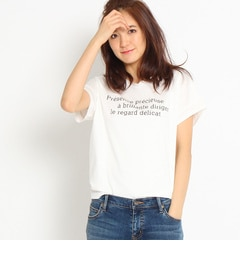 【インディヴィ/INDIVI】 [S]ロゴ入りVネックコットンTシャツ [送料無料]