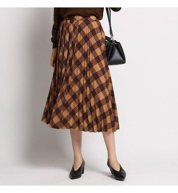 【インディヴィ/INDIVI】 【ハンドウォッシュ】切り替えプリーツロングスカート