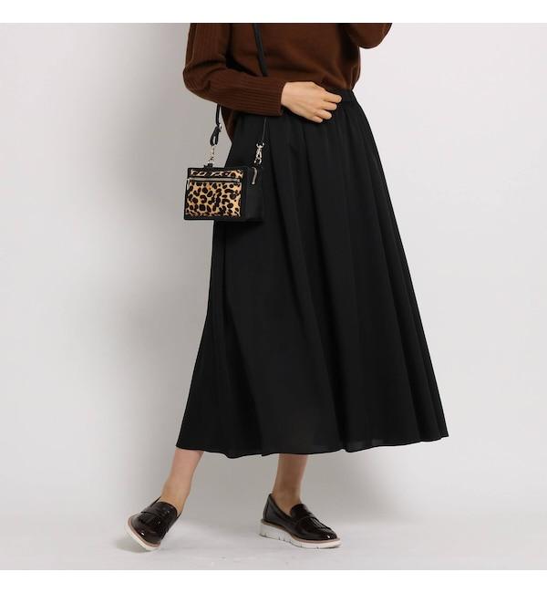 【インディヴィ/INDIVI】 [L]【WEB限定・マシンウォッシュ】レオパ風ロングスカート