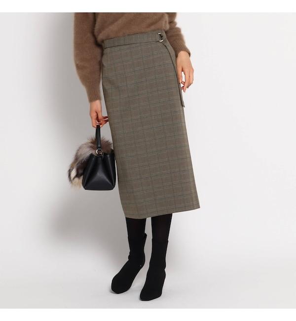 【インディヴィ/INDIVI】 【ハンドウォッシュ】クリアクロスタイトスカート