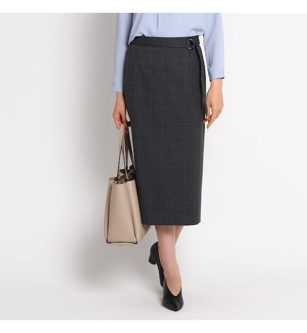 【インディヴィ/INDIVI】 [S]【ハンドウォッシュ】クリアクロスタイトスカート