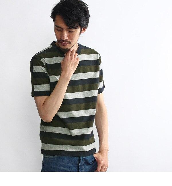 【タケオキクチ/TAKEO KIKUCHI】 ヘリンボン柄パネルボーダー Tシャツ [送料無料]