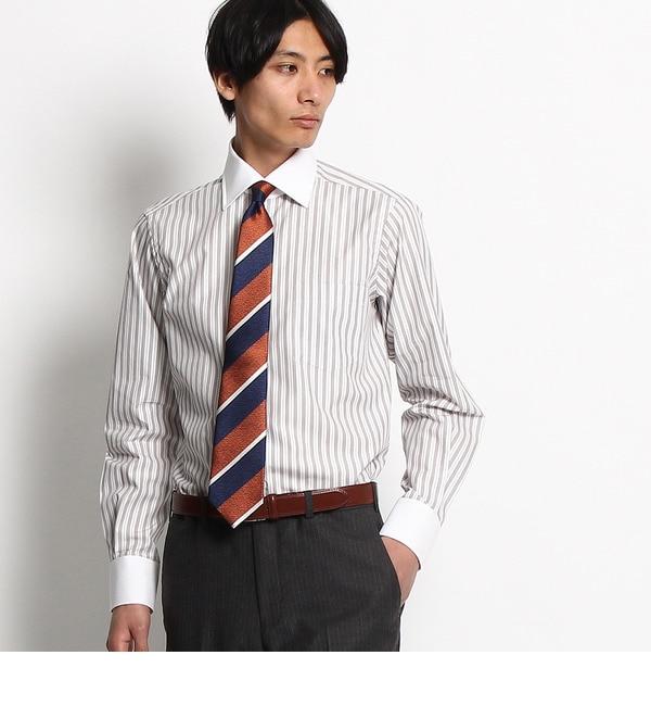 【タケオキクチ/TAKEO KIKUCHI】 ヘアラインストライプ ワイドカラー クレリックシャツ [送料無料]
