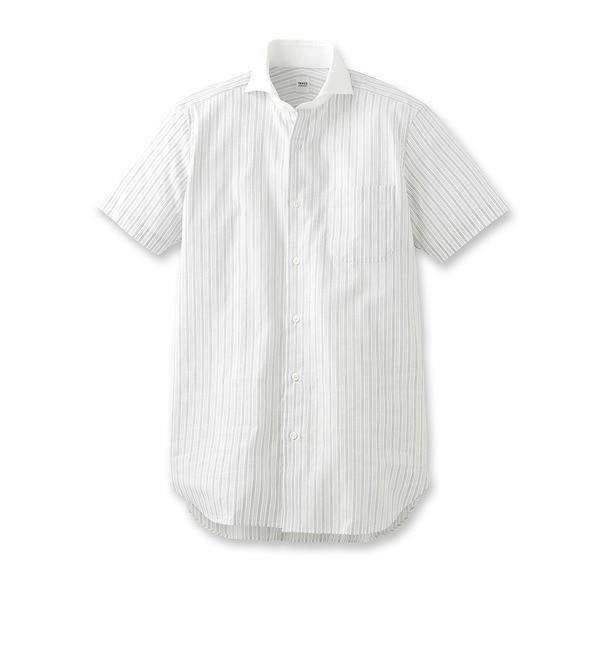 【タケオキクチ/TAKEO KIKUCHI】 カラミオルタネートストライプホリゾンタルカラー クレリックシャツ [送料無料]