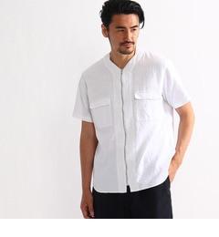 【タケオキクチ/TAKEOKIKUCHI】フラワージャガードノーカラージップシャツ[送料無料]