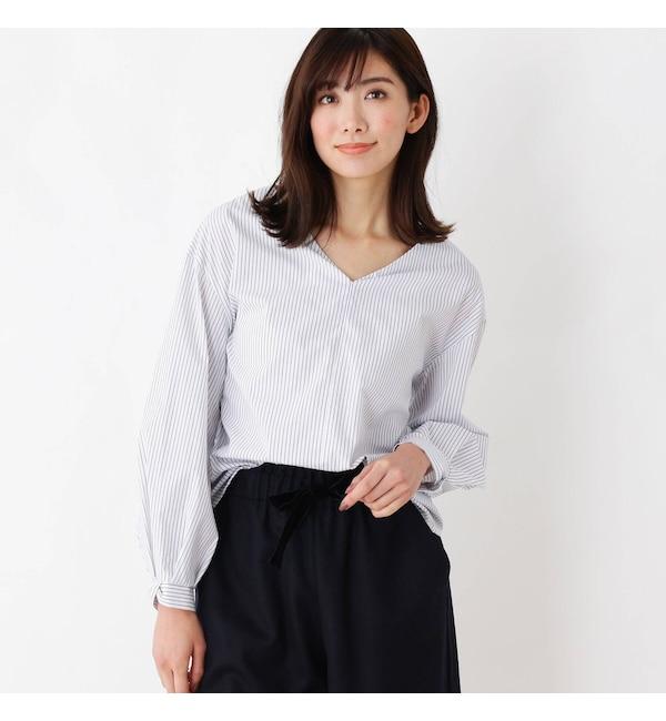 【インデックス/index】 【洗える】ブロードストライプ Vネックシャツ