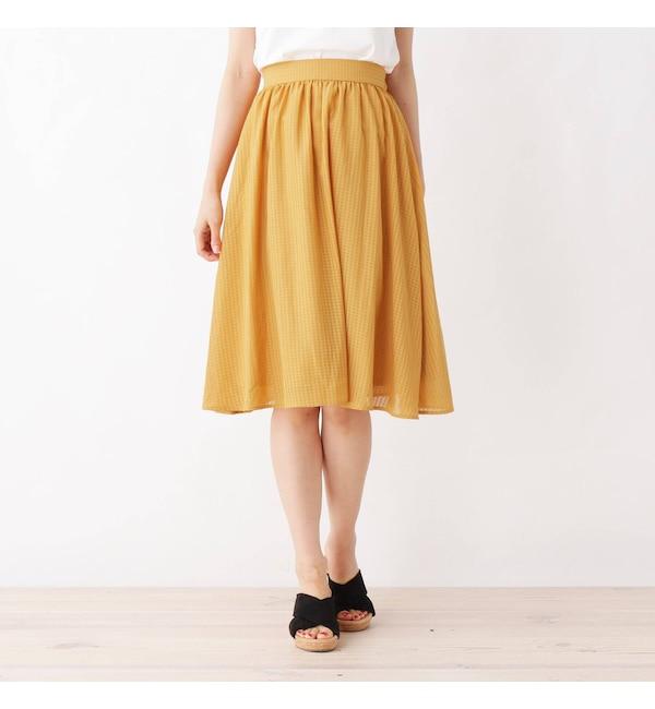 【インデックス/index】 【洗える・42(LL)WEB限定サイズ】ひざ丈ギャザースカート