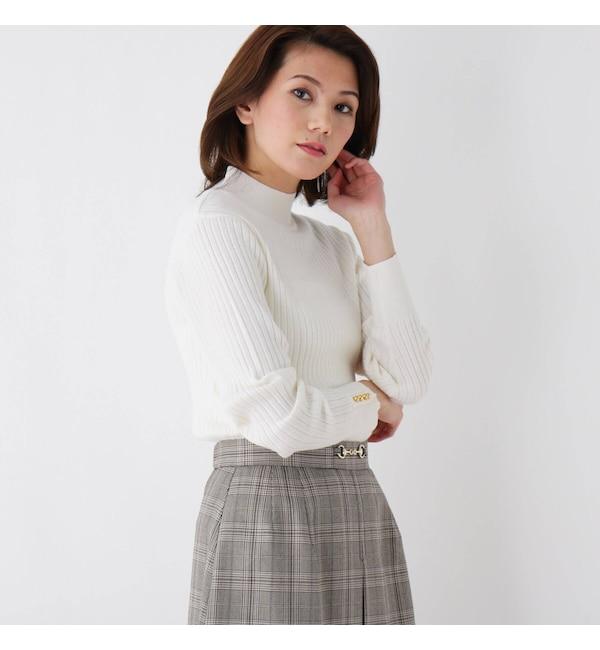 【インデックス/index】 【her style.掲載】【洗える】ワイドリブボタンハイネックニット
