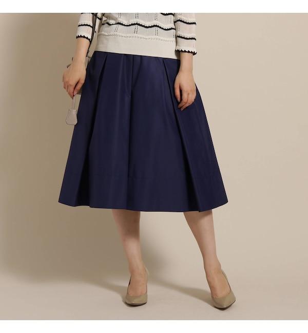 【アナトリエ/anatelier】 【SS/Lサイズあり】微光沢タックフレアスカート