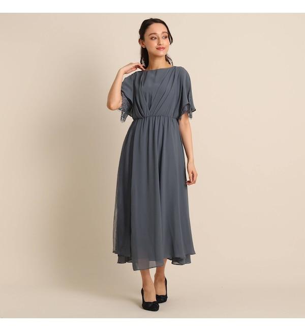 【アナトリエ/anatelier】 Luxe brille サイドレースジョーゼットロングドレス
