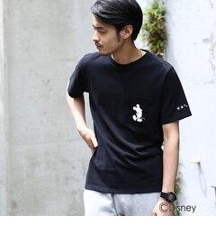 【ベース ステーション/BASE STATION】 【ユニセックス】袖スター刺繍 ポケットTシャツ(ミッキーマウス) [送料無料]