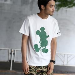 【ベース ステーション/BASE STATION】 【ユニセックス】袖スター刺繍 シルエットTシャツ(ミッキーマウス) [送料無料]