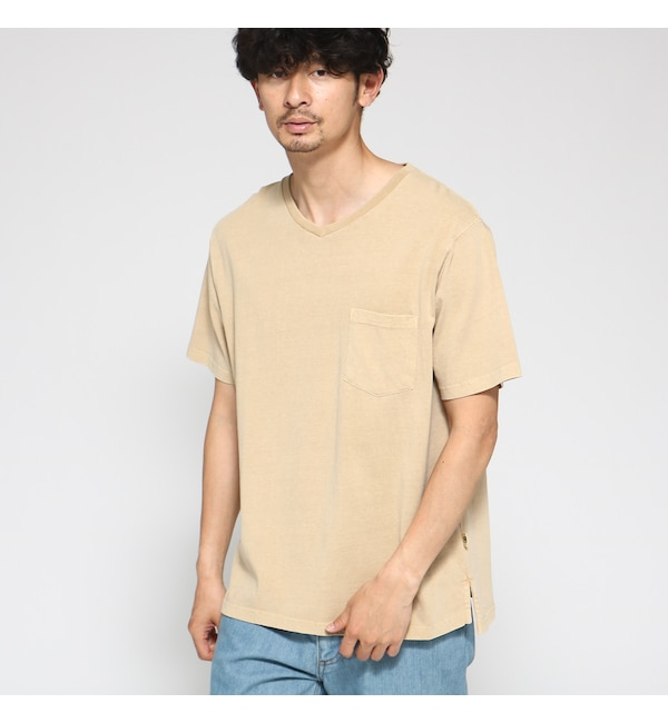 【ベース ステーション/BASE STATION】 Tシャツ メンズ 製品染め VネックTシャツ