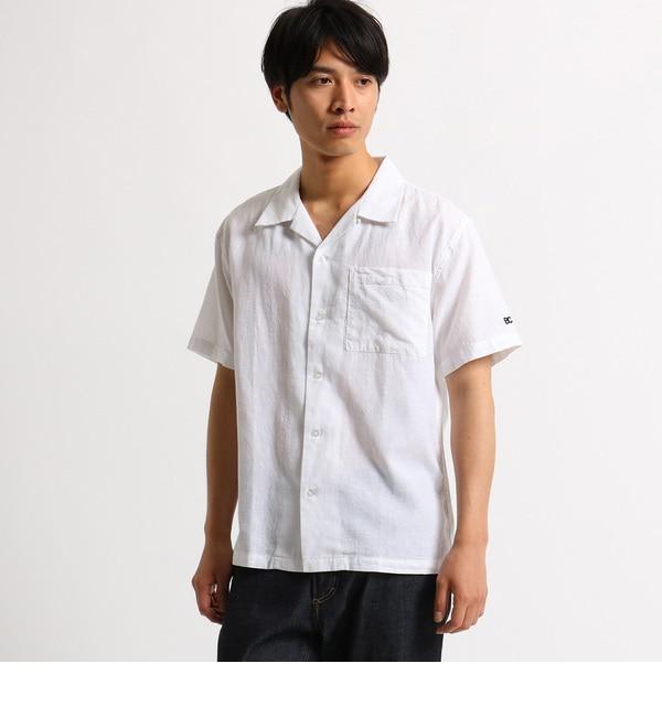 【ベース ステーション/BASE STATION】 オープンカラーシャツ 綿麻シャンブレー WEB限定