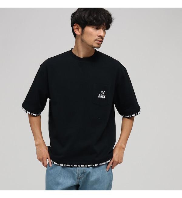 【ベース ステーション/BASE STATION】 WEB限定 ビッグシルエット フェイクレイヤード 半袖Tシャツ 【BSCL】