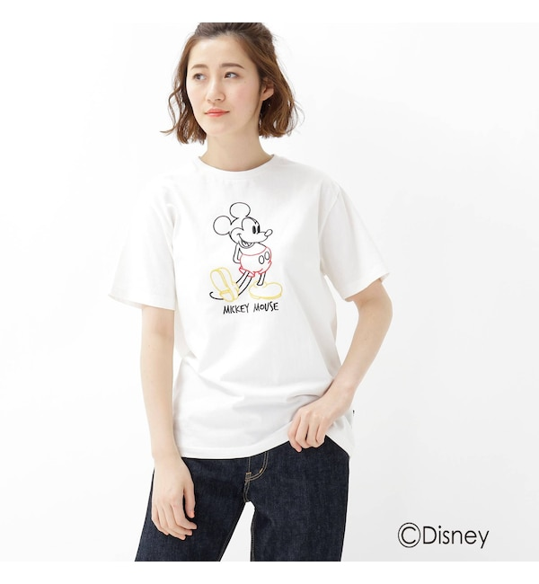 【ベース ステーション/BASE STATION】 【WEB限定】 ミッキーマウス ラインアート刺繍 Tシャツ