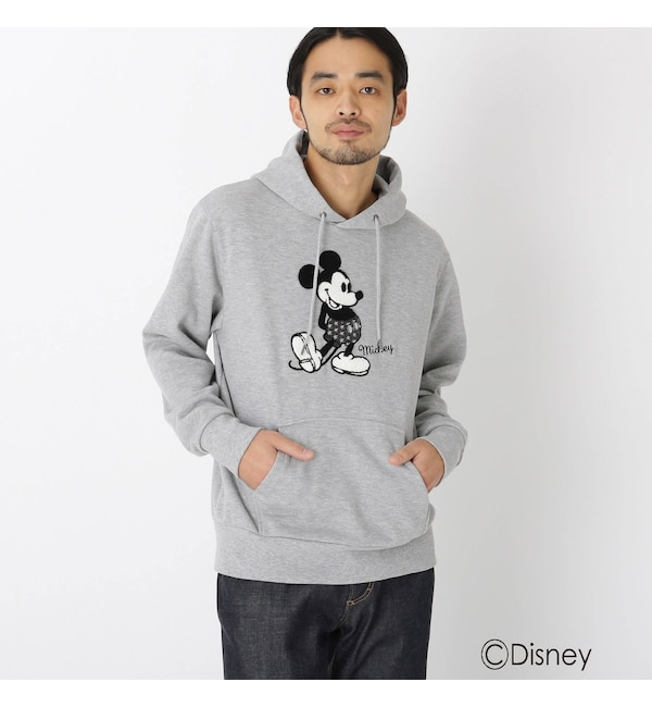 【ベース ステーション/BASE STATION】 DISNEY ディズニー/サガラ刺繍<ミッキーマウス>パーカー