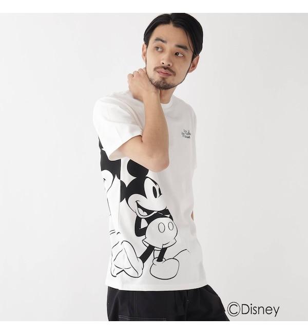 【ベース ステーション/BASE STATION】 DISNEY ディズニー 「ミッキーマウス」/サイドプリント 半袖 Tシャツ
