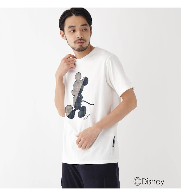 【ベース ステーション/BASE STATION】 DISNEY ディズニー「ミッキーマウス」/チェック 刺繍 半袖 Tシャツ