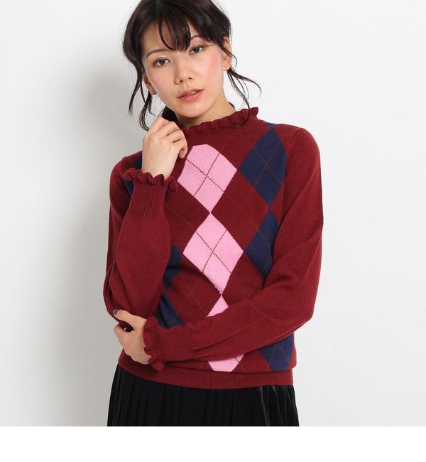 【AG バイアクアガール/AG by aquagirl】 アーガイルフリルニット [3000円(税込)以上で送料無料]