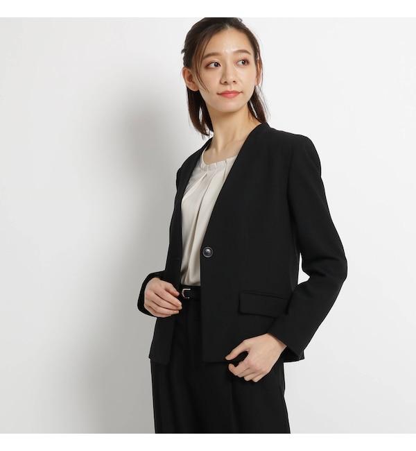 【AG バイアクアガール/AG by aquagirl】 【ママスーツ/入学式 スーツ/卒業式 スーツ】【Lサイズあり】ワンボタンVネックジャケット