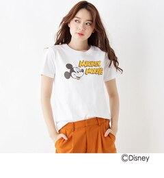 【オペークドットクリップ/OPAQUE.CLIP】 コットンプリントTシャツ(ミッキーマウス) [送料無料]