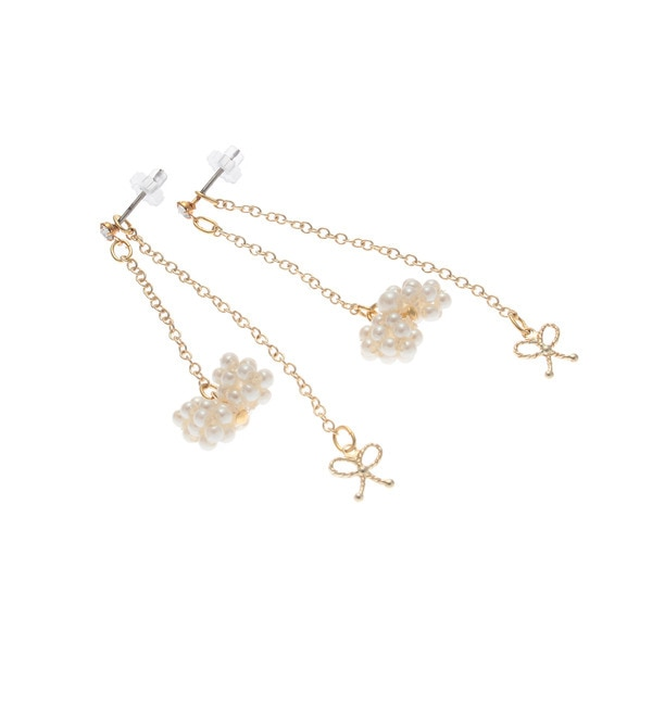 【クチュール ブローチ/Couture brooch】 リボンモチーフスウィングピアス [3000円(税込)以上で送料無料]
