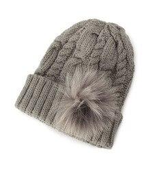 【クチュールブローチ/Couturebrooch】cachenezファー付きケーブルニット帽[3000円(税込)以上で送料無料]