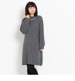 【クチュール ブローチ/Couture brooch】 バルーン袖ビジューニットワンピース [送料無料]
