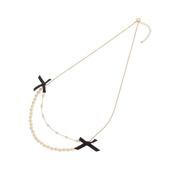 【クチュール ブローチ/Couture brooch】 ベロアリボンパール2連ネックレス [送料無料]