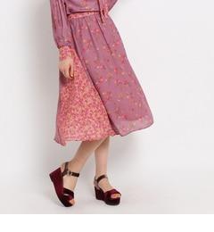 【クチュール ブローチ/Couture brooch】 バレリーフラワープリントスカート [送料無料]