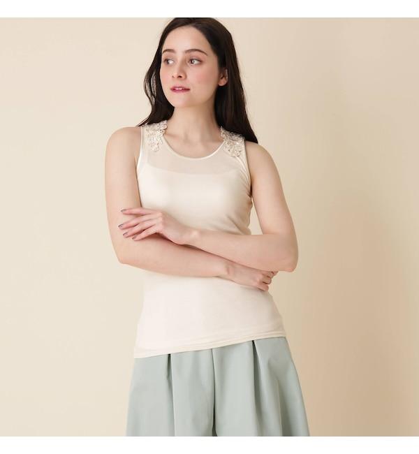 【クチュール ブローチ/Couture brooch】 【手洗い可】レーシータンクトップ