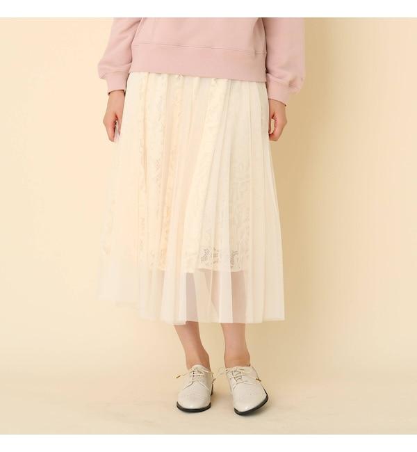 【クチュール ブローチ/Couture brooch】 【手洗い可】レ?スチュ?ルフレアスカート
