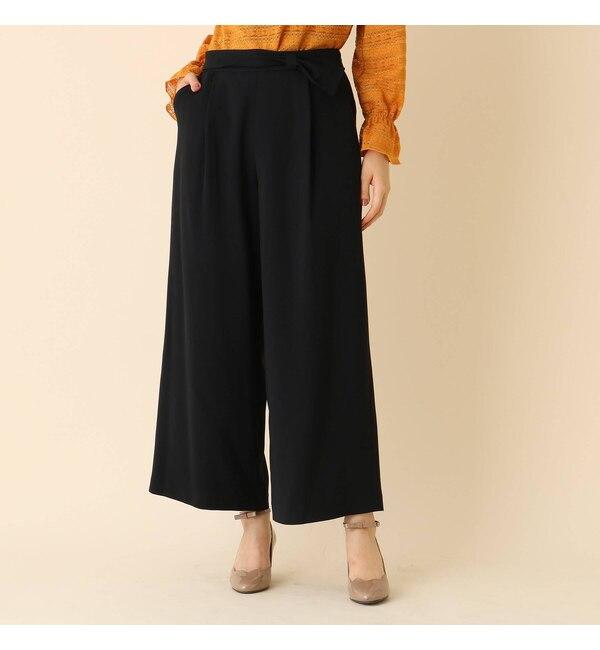 【クチュール ブローチ/Couture brooch】 【WEB限定プライス/手洗い可】リボンベルトワイドパンツ