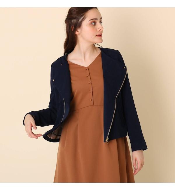【クチュール ブローチ/Couture brooch】 【WEB限定プライス】スウェード調ノーカラージャケット