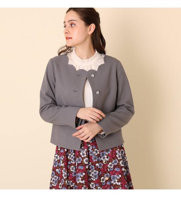 【クチュール ブローチ/Couture brooch】 【WEB限定サイズ(LL)あり/手洗い可】スカラネックジャケット