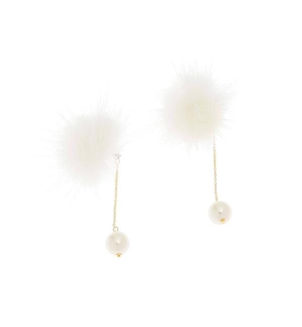 【クチュール ブローチ/Couture brooch】 フェイクパール×ミンクピアス