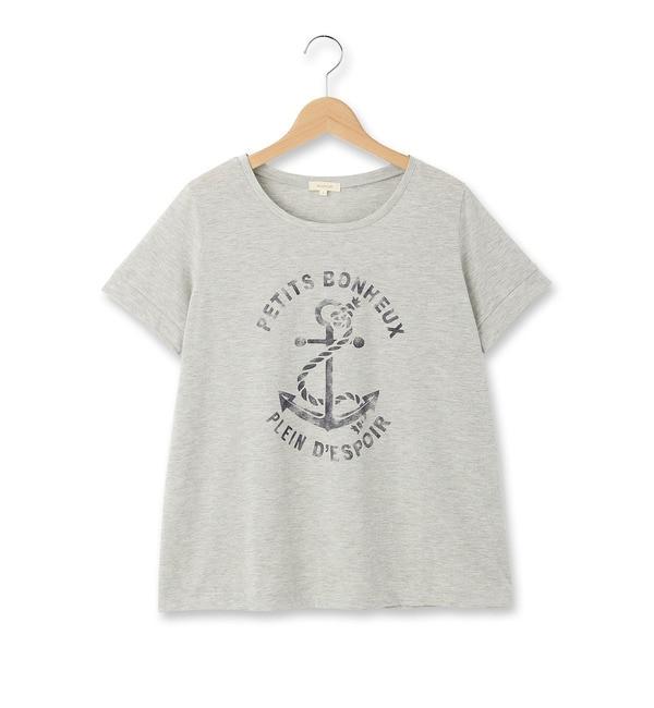【ハッシュアッシュ/HusHusH】 ◆かすれプリントラウンドネックTシャツ [3000円(税込)以上で送料無料]