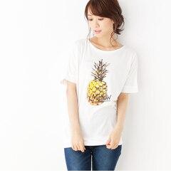 【ハッシュアッシュ/HusHusH】 パイナップル天竺ビッグTシャツ [3000円(税込)以上で送料無料]